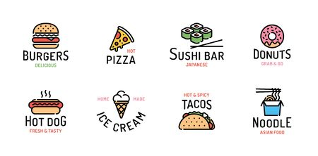 Vector street food logo set. Line fastfood sign illustration. Modern flat restaurant or cafe logotype. Design concept for burgers, pizza, sushi bar, donuts, hot dog, ice cream, tacos, noodle