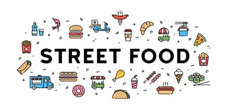 Vector street food banner concept. Line fastfood logo illustration. Modern icon design for cafe, delivery, restaurant, stall, bar. Flat take away symbol template