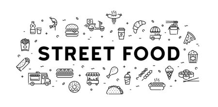 Street food banner concept. Modern icon design template for cafe, delivery, restaurant, stall, bar. Vector line fastfood logo illustration. Flat take away symbol template