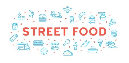 Vector street food banner template. Simple line fastfood logo illustration. Modern icon design template for cafe, delivery, restaurant, stall, bar. Flat take away symbol concept 向量圖像