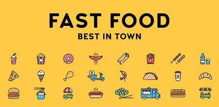 Vector fast food icon set. Street menu logo symbol collection. Flat take away pictogram illustration in line style. Simple signs for cafe, delivery, restaurant, stall, bar