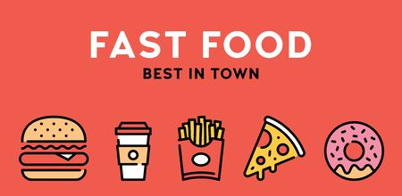 Vector fast food icon illustration. Street menu logo symbol collection. Flat take away banner in line style. Simple design for cafe, delivery, restaurant, stall, bar. Best in town concept