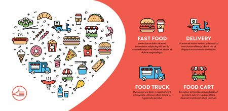 Vector street food banner concept with place for text. Line fastfood logo illustration. Modern icon flyer design for cafe, delivery, restaurant, bar. Flat take away background template with heart
