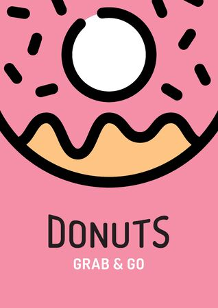 Vector donut background poster. Sweet tasty doughnut banner concept.  Line candy food icon illustration. Modern flyer design for cafe, restaurant, stall, delivery, festival, market, party
