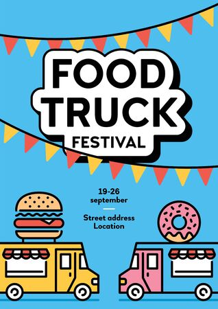 Street food truck banner with place for text. Vector fastfood poster invite illustration. Festival van background concept. Modern icon flyer design for festival, market, event 스톡 콘텐츠 - 146986067