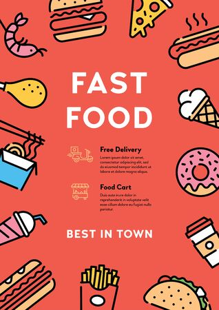 Vector street food banner concept with place for text. Line fastfood icon illustration. Modern flyer design for cafe, delivery, restaurant, bar, festival, market. Flat take away poster background 向量圖像