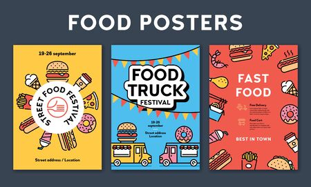 Vector street food banner concept with place for text. Line fastfood poster invite illustrations. Flat take away background templates. Modern icon flyer design for festival, market, party, barbecue