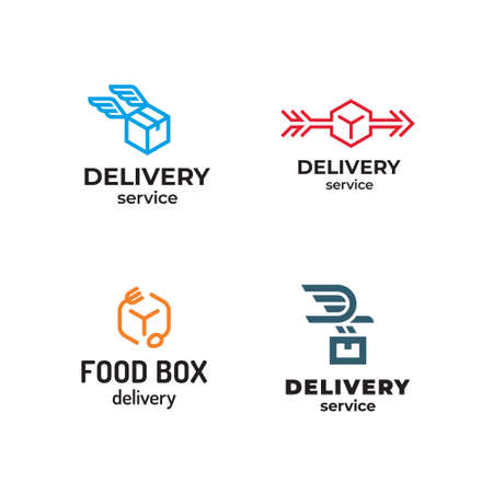 Vector delivery logo design set.