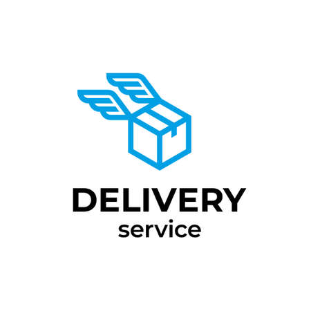 Vector delivery logo design. Flying box with wings icon label for logistic services. 向量圖像