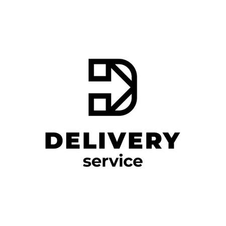 Linear delivery logo template. Vector letter D with arrow icon label for logistic services.