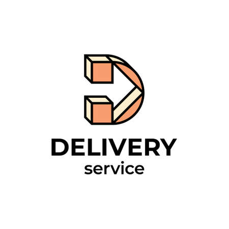 Vector delivery logo template. Linear letter D with arrow icon label for logistic services. 向量圖像
