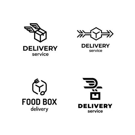 Linear delivery logo design set. Vector box icon label for logistic services. 向量圖像