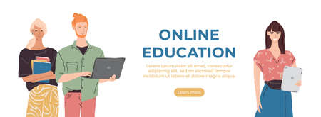 Vector online education banner. Group of young people with laptop, tablet, books. Modern student character illustration. Distance or home learning concept banner