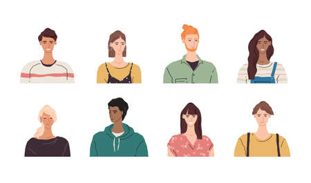 Vector avatar face illustration. Group of multicultural young people. Smiling character portrait set. Diverse man and women cartoon image collection