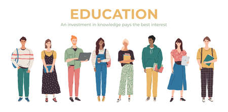 Vector student character illustration. Multicultural education team banner. Group of young people with books, laptop, tablet. College boys and girls learning together