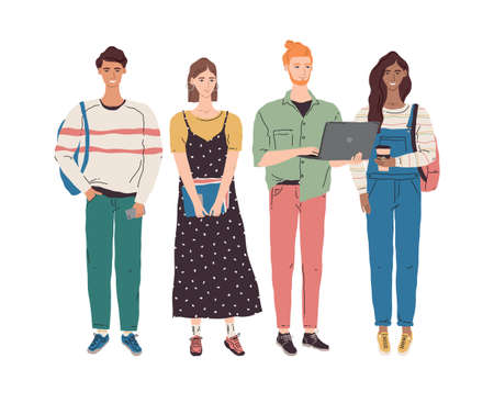 Vector group of multicultural young people with books and laptop. University boys and girls learning together. College student character illustration. Multiethnic education team concept
