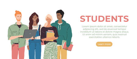 Vector group of multiethnic young people with books and laptop. Modern student character illustration. College boys and girls learning together. International education team concept banner