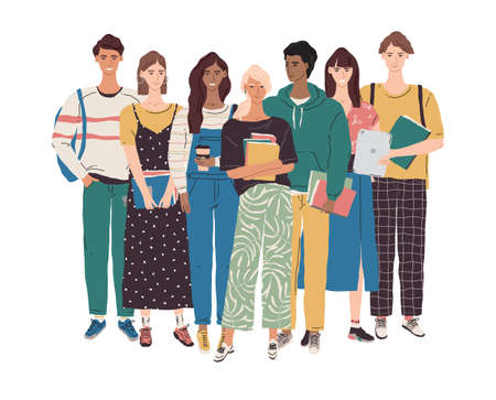 College student character illustration. Vector group of multicultural young people with books, laptop, tablet. International education community concept. University boys and girls learning together