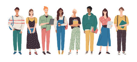Vector college student character illustration. Group of multicultural young people with books, laptop, tablet. University boys and girls learning together. International education team concept 向量圖像