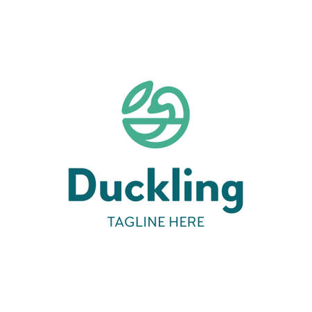 Vector duck logo template. Simple bird icon label for different branding and identity. Outline circle logotype with leaf sign