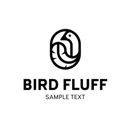 Vector bird feather logo template. Outline logotype with fluffy sign. Creative icon label suitable for fluff bedding textile, soft fabric branding or any other identity
