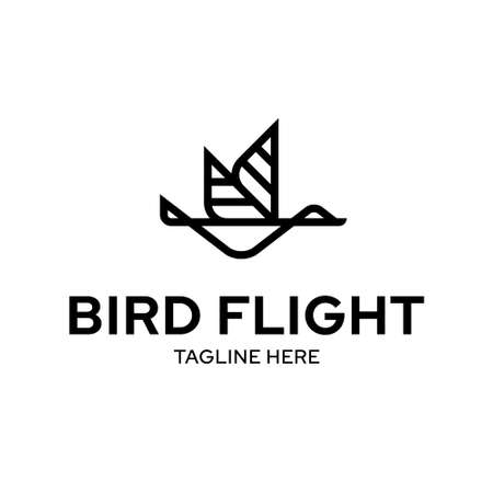 Flying bird logo template. Vector geometric logotype illustration isolated on background. Linear fly wings icon symbol in flat style Иллюстрация