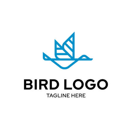 Vector flying bird logo template. Outline geometric logotype illustration isolated on background. Graphic fly wings icon symbol in flat style