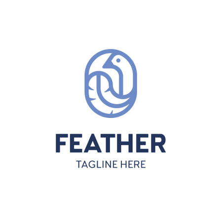 Vector bird feather logo template. Linear logotype with fluffy sign. Graphic icon label suitable for fluff bedding textile, soft fabric branding or any other identity
