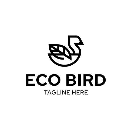 Vector eco bird logo template. Outline ecologic logotype with leaf sign as a wing. Graphic animal icon label for eco-friendly, green, organic, natural branding and identity. Иллюстрация