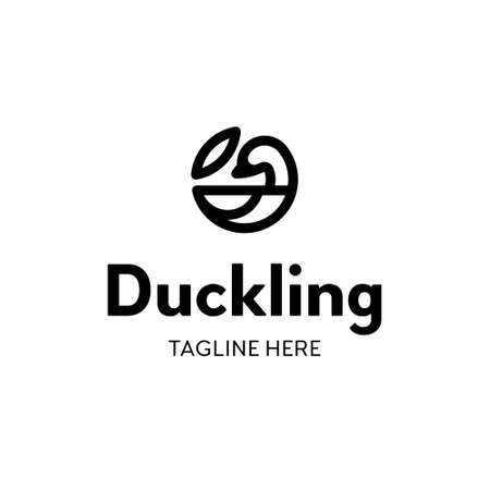 Vector duck logo template. Linear circle logotype with leaf sign. Graphic bird icon label for different branding and identity Иллюстрация