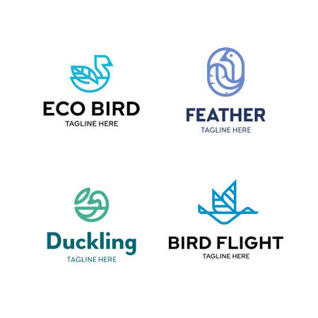 Bird logo template set. Vector logotypes with leaf and feather signs. Graphic icon labels for different branding and identity. Outline symbol illustrations of duck, swan, goose, mallard and others