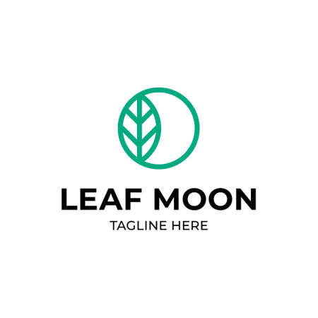 Vector leaf moon logo template. Outline ecologic logotype with crescent sign. Minimal circle icon label for different branding and identity