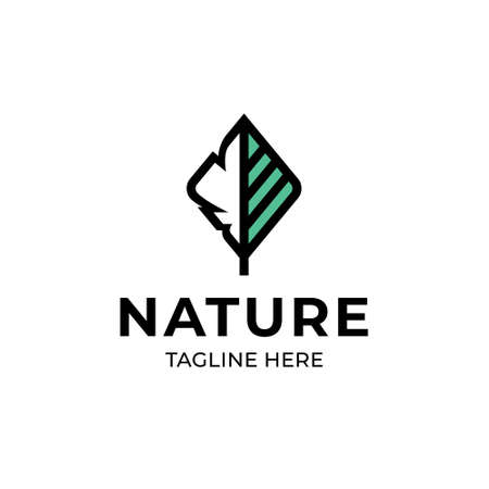 Vector nature logo template. Outline tree logotype with green leaf sign. Abstract plant icon label isolated on background. Eco green design concept for different branding and identity Иллюстрация
