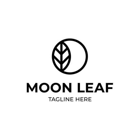Vector leaf moon logo template. Minimal circle icon label for different branding and identity. Linear ecologic logotype with crescent sign