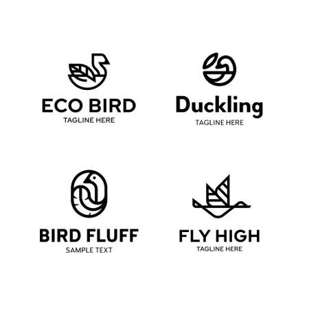 Vector bird logo template set. Outline logotypes with leaf and feather signs. Symbol illustrations of duck, swan, goose, mallard and others. Graphic icon labels for different branding and identity