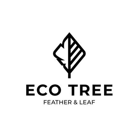 Vector nature logo template. Minimal plant icon label isolated on background. Line tree logotype with green leaf sign. Eco green design concept for different branding and identity Иллюстрация