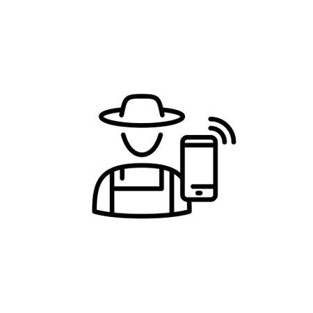 Vector farmer icon template. Flat symbol of farming man and digital agriculture. Smart technology farm worker sign. Line illustration of granger in hat with smartphone Иллюстрация