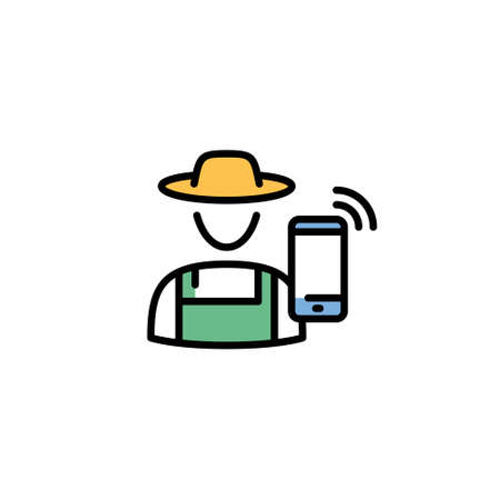 Vector farmer icon template. Line illustration of granger in hat with smartphone. Color flat symbol of farming man and digital agriculture. Smart farm village worker