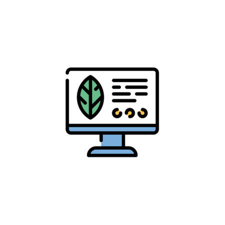 Vector monitor with leaf icon template. Line illustration of smart farming control process. Simple computer management symbol. Digital farm crop monitoring concept