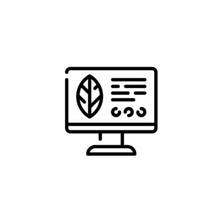 Vector monitor with leaf icon template. Modern digital farm monitoring concept. Line illustration of smart farming control process. Flat computer management symbol