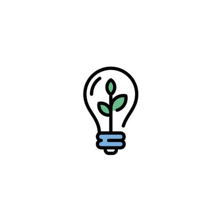 Vector lightbulb with leaf icon template. Line illustration of eco energy bulb. Modern environmental symbol with plant. Recycle ecosystem solution concept Иллюстрация