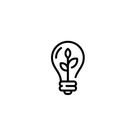 Vector lightbulb with plant icon template. Creative environmental symbol with leaf. Recycle ecosystem solution concept. Line illustration of eco energy bulb Иллюстрация