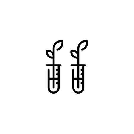 Vector test tube with leaf icon. Laboratory biotechnology symbol. Flat botanical research concept. Outline illustration of plant vitro