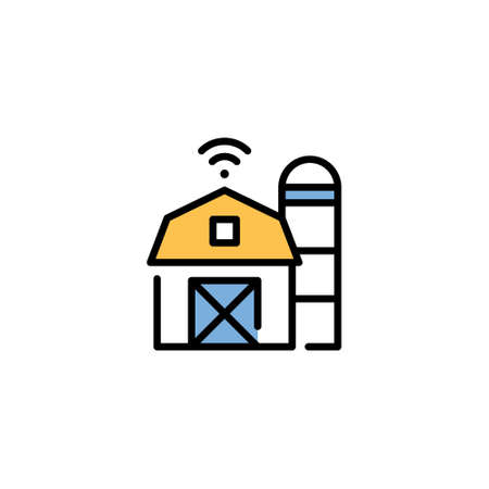 Vector smart farm house icon. Line digital barn symbol illustration. Modern technology agriculture concept. Flat innovation farming template Иллюстрация