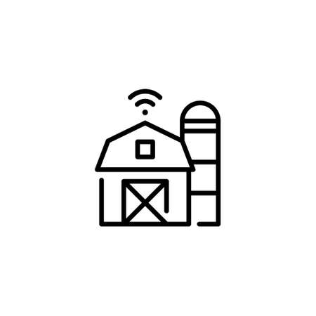 Vector smart farm house icon. Innovation network farming template. Technology barn symbol illustration. Linear digital agriculture concept.
