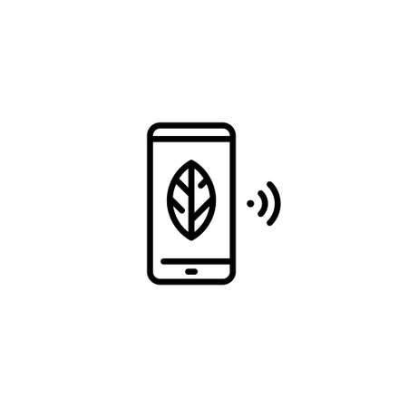 Vector smart farm phone icon. Linear template of wifi digital farming technology. Smartphone farmland management concept. Flat agriculture device symbol illustration