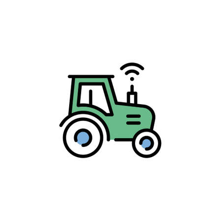 Vector smart farm tractor icon. Line wifi harvest truck illustration. Modern technology agriculture concept. Flat innovation heavy machinery template