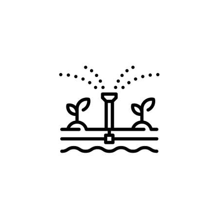 Vector water irrigation icon. Simple farm sprinkler system illustration. Linear automatic drip watering template. Modern technology agriculture concept Иллюстрация