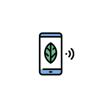 Vector smart farm phone icon. Line agriculture device symbol illustration. Flat template of digital farming technology. Smartphone farmland management concept
