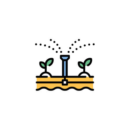 Vector water irrigation icon. Line farm sprinkler system illustration. Modern technology agriculture concept. Flat automatic drip watering template
